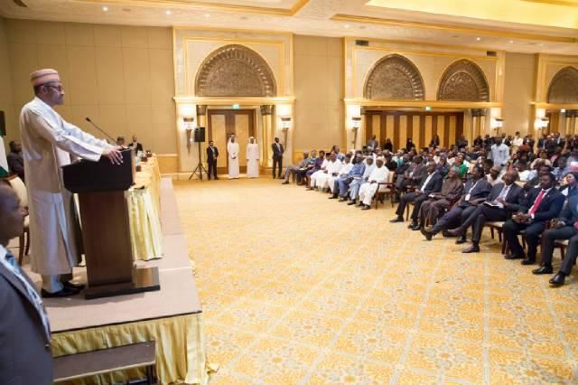 President Buhari addressing the Nigerian community in UAE