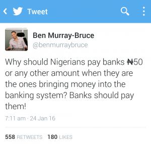 Ben Murray-Bruce tweets on N50 stamp duty tax