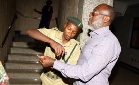PDP spokesman Olisa Metuh arriving in court on Tuesday