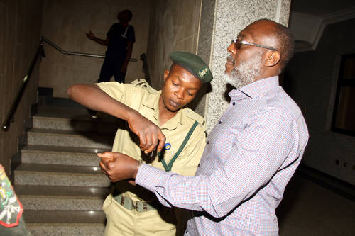 PDP spokesman Olisa Metuh arriving in court on Tuesday