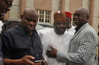 Rivers governor, Nyesom Wike (L) and Ekiti governor, Ayodele Fayose (R) with Ali Modu Sheriff (M)