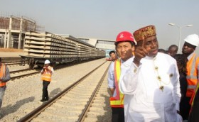 Rotimi Ameachi inspecting Abuja to Kaduna Railway