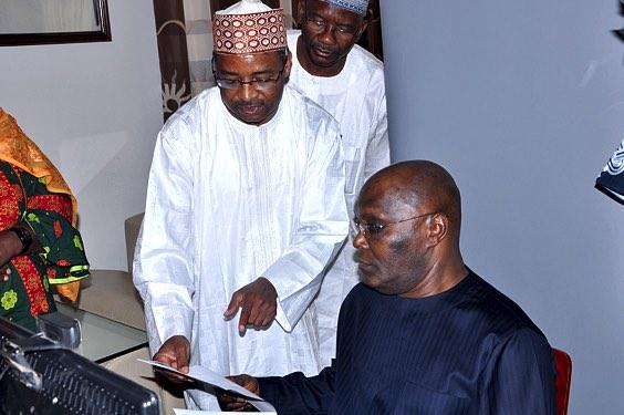 The DG NIMC, Engr. Aliyu Aziz Abubakar with former VP, Abubakar Atiku