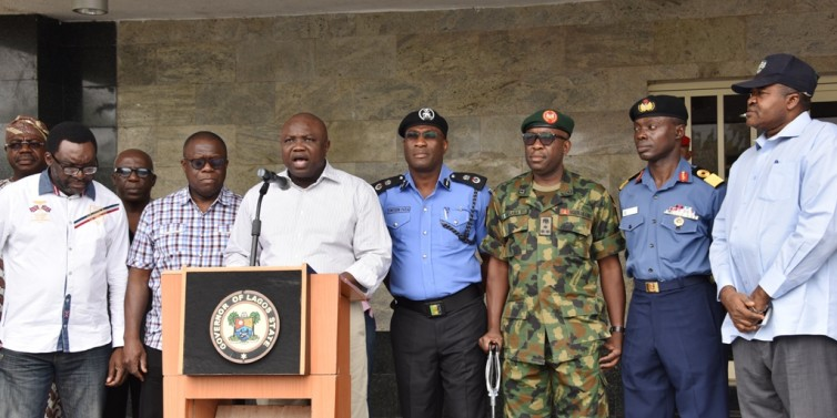 Lagos Governor, Akinwumi Ambode addressing reporters on the Babington Macaulay Junior Seminary kidnapping case