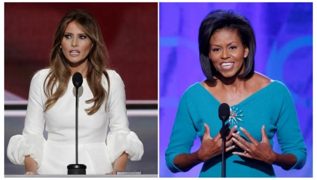 Melania Trump and Michelle Obama make party convention speeches in file photos