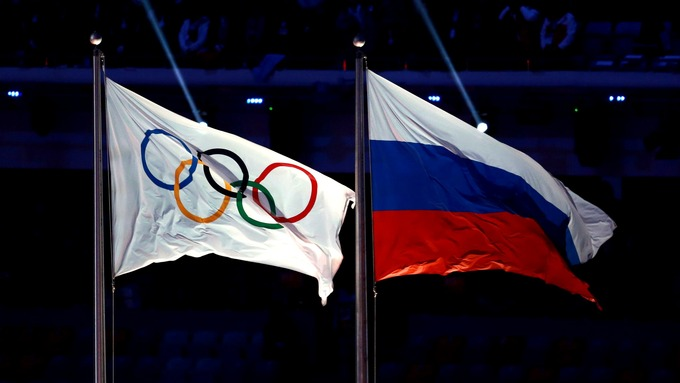 Russia and Olympics Flags